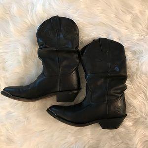Double-H Black Western Leather Cowboy Boots 8.5M